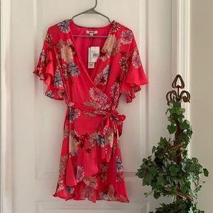 NWT BB Dakota Floral Bright Pink Wrap Dress